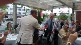 CCBUA President congratulates George Gaspa on his 60 years of service